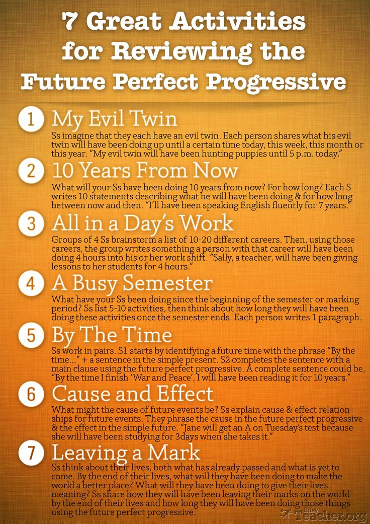 POSTER: 7 Great Activities to Review the Future Perfect Progressive...Looking for new interesting ways to teach or review the Future Perfect Progressive? You've come to the right place! Here's our latest grammar reference poster that contains 7 short activities to practice this particular tense!