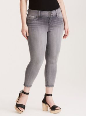 Cropped Jeggings - Pewter Grey Wash