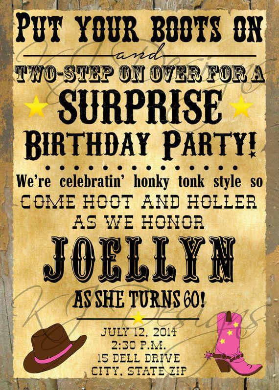 Western Birthday Invitation Digital 60th Birthday
