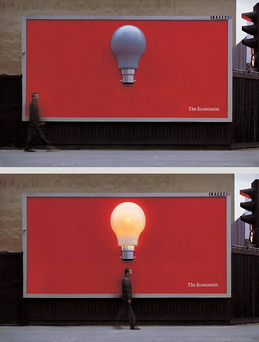 This simple yet ingenious design comes from UK-based creative advertising and brand management agency Abbott Mead Vickers BBDO. The 'less is more' idea features a giant lightbulb popping out of the centre of a red background, the only words reading 'The Economist'.