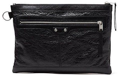 BALENCIAGA Leather Medium Clutch Bag