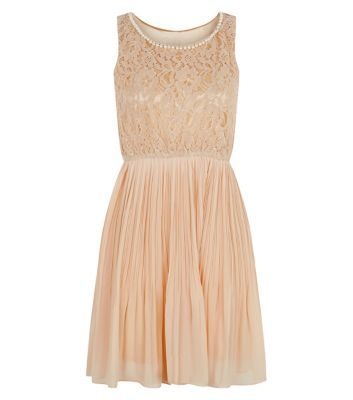 Mela Light Pink Lace Pearl Neck Pleated Dress