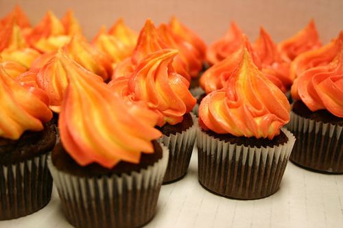 """Need this trick for making my """"warm sun"""" cupcakes to mimic the watercolor effect from the book"""