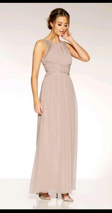 a213250c4dd08 Quiz Bridesmaid Dress, Mocha Chiffon Embellished Maxi Dress Size 8#Dress #Mocha#Quiz