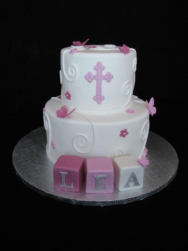 cake gâteau baptême baptism christening fille girl papillon butterfly
