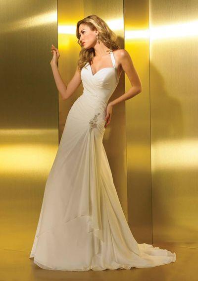 A-lijn een-schouder vloer-length chiffon charmeuse bruidsjurken