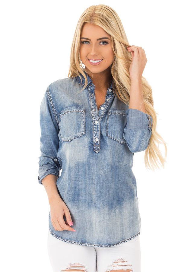 Lime Lush Boutique - Medium Wash Half Button Chambray Shirt with Front Pockets, $42.99 (https://www.limelush.com/medium-wash-half-button-chambray-shirt-with-front-pockets/)