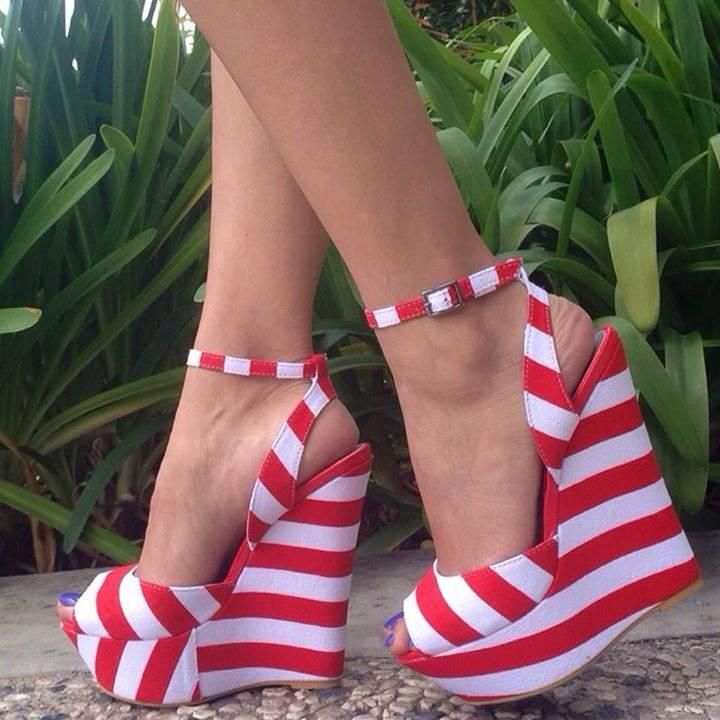 Fashion platform red and white #shoes