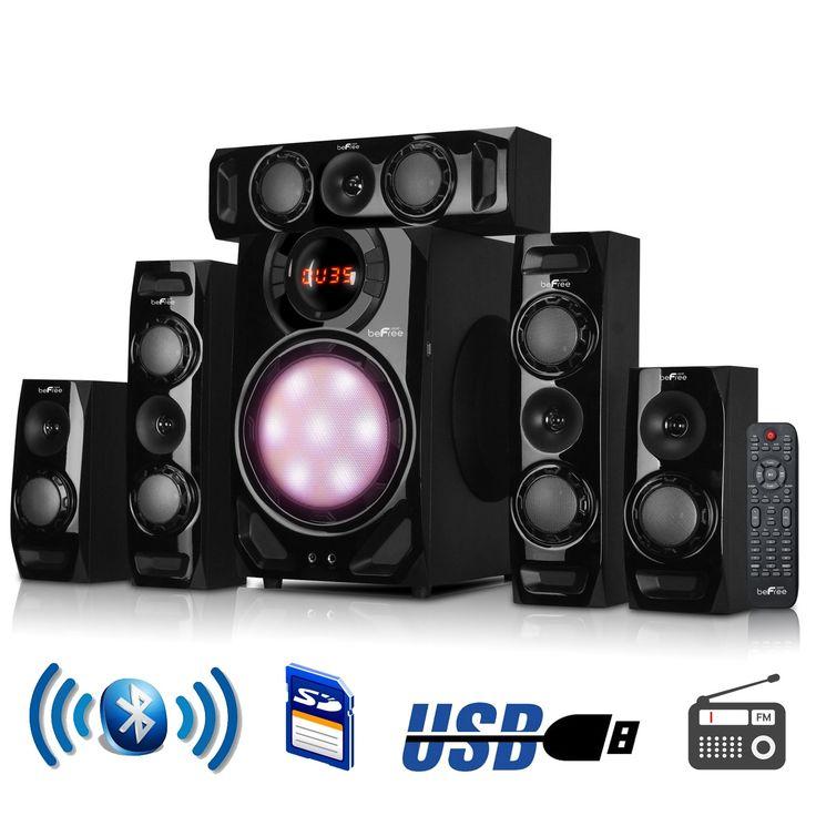 beFree Sound 5.1 Channel Surround Sound Bluetooth Speaker System in Black #BFS510C