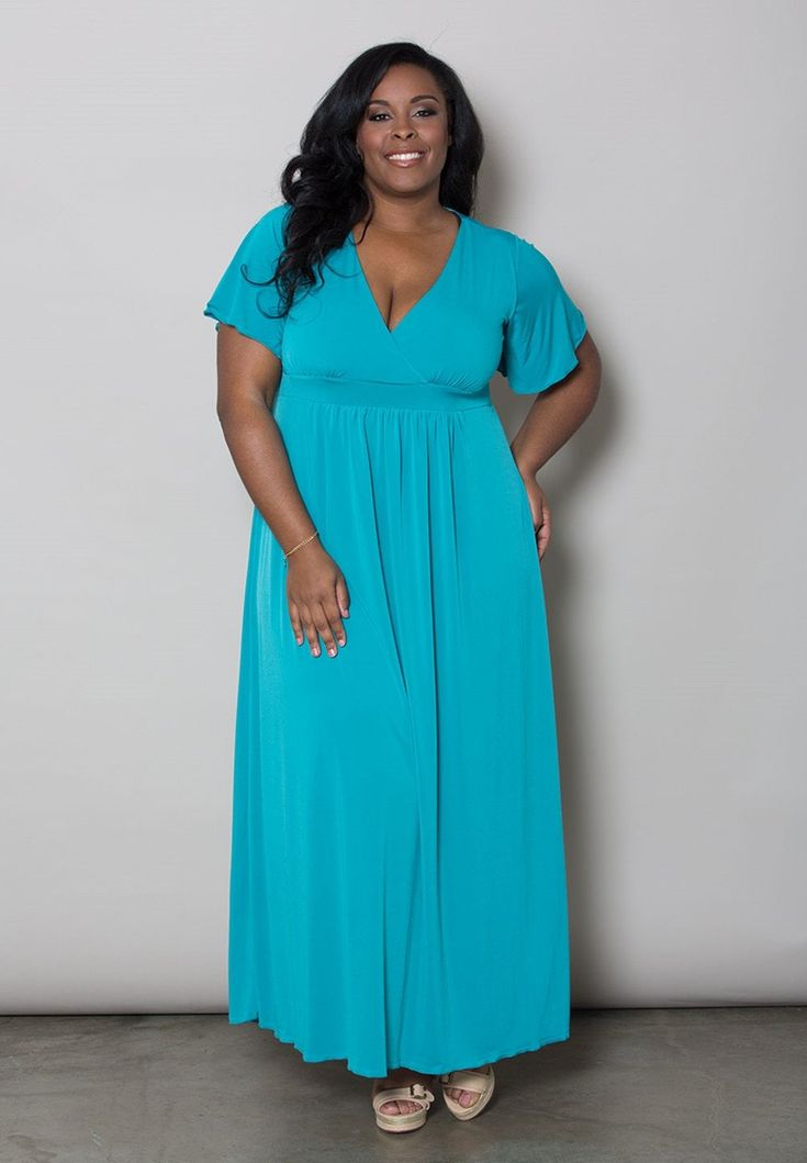 Our best-selling, plus size Classic Maxi Dress with a flattering deep crossover V-neckline. Perfect for a casual wedding or a spring or summer party.  With an empire waist line that gives off a high-waist appearance and ends with a skirt that feels long  and loosely fitting but skims the body just right, this dress is perfect for every occasion whether you want to dress it up or down, this is the must have dress in every woman's  closet.