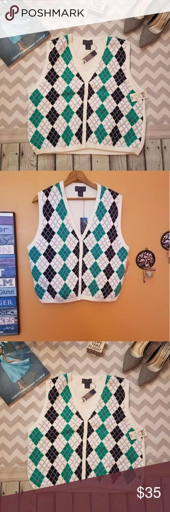 NWT CharterClub argyle knitted cotton sweater vest ✔New with tag Charter Club argyle knitted cotton sweater vest ✔Super adorable and cute ✔Looks great with black mini skirt or legging ✔Green black purple & white argyle vest ✔100% cotton 👌 ✔Style number 8404 ✔Size Xl ✔Please see the picture for Measurements Charter Club Jackets & Coats Vests