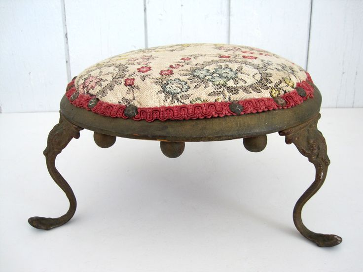 antique round foot stool victorian cast iron legs upholstered eastlake cricket short small footstool by
