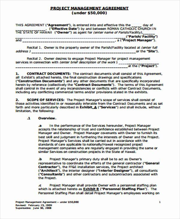 Project Management Contract Template Fresh 6 Sample Management Consulting Agreements Contract Template Project Management Contract