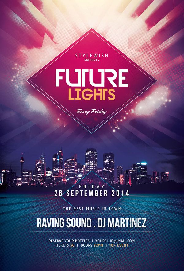 Future Lights Flyer by styleWish (Download PSD file)