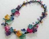 Items op Etsy die op Frida Kahlo Floral Necklace Crochet Colorful Chain Cotton Ribbon lijken
