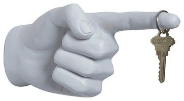 One Finger Pointing Wall Hook eclectic-wall-sculptures