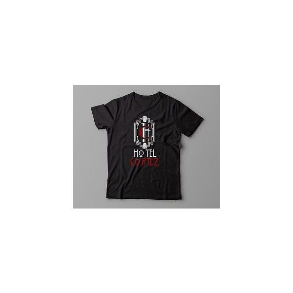 American Horror Story Hotel Cortez Lady Gaga ahs All Sizes Black... ❤ liked on Polyvore featuring tops, t-shirts, american t shirt, american tees, american tops, americana tees and americana t shirts