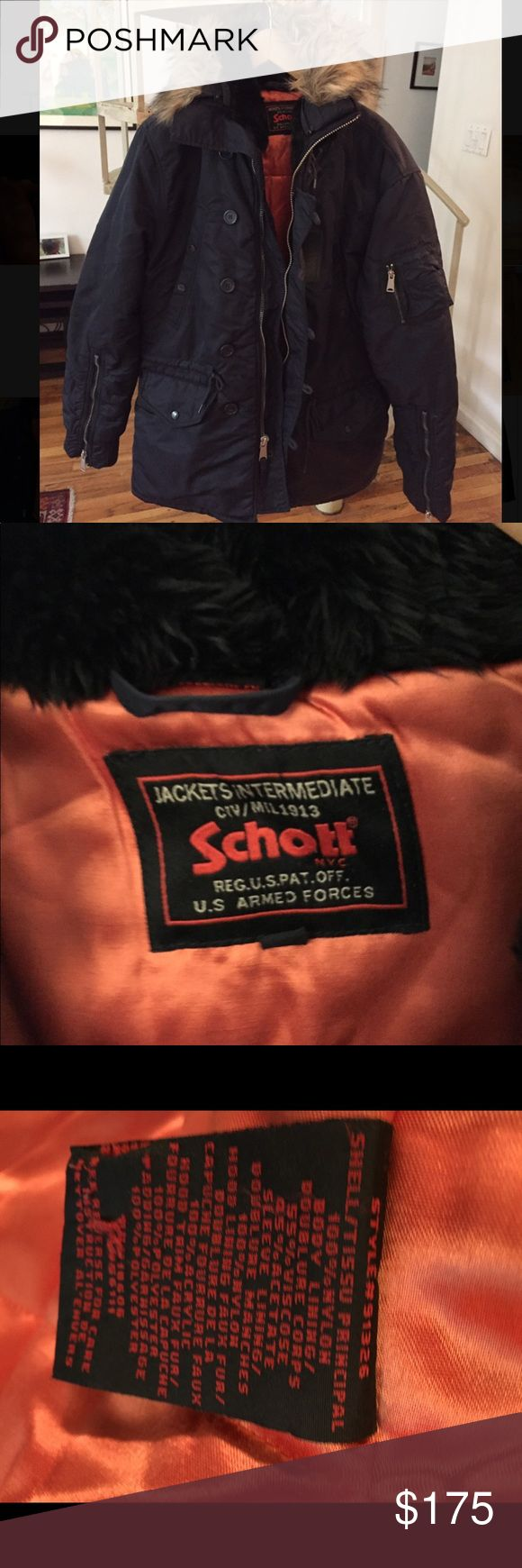 SCHOTT NYC Men's Navy Parka Excellent condition- coat is 1 year old and was only worn for a month.  Nylon shell, removable faux fur trim. Hood faux fur is black, not the blue in the stock photo. Lining is orange. Schott NYC Jackets & Coats