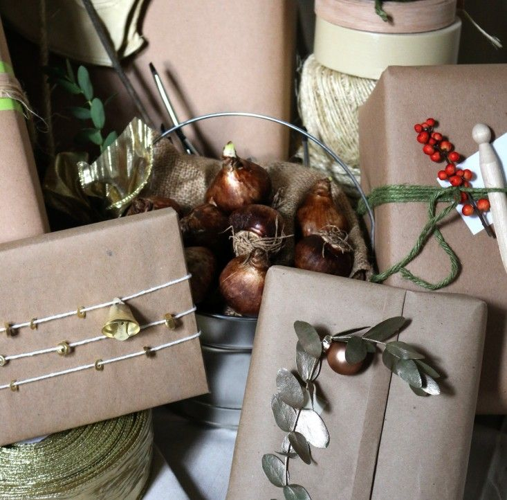 gift wrap with hardware store finds