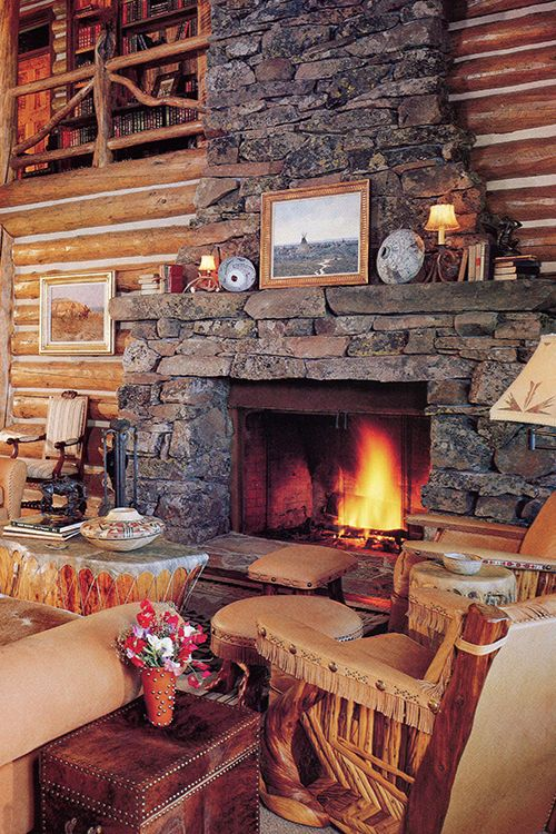 599 best ideas for the western home images on pinterest for Cabin fireplace pictures