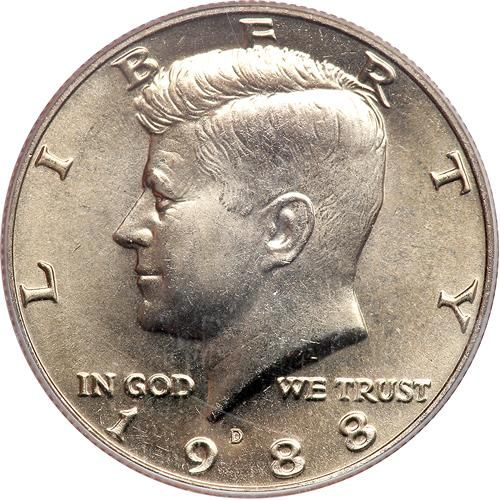 1988-D Kennedy Half Dollar. PCGS MS68 A brilliant satiny surface gem example. Connoisseurs of the 1988-D half dollar will recognize this at once as the Ultimate example. Estimated Value $2,000-UP #Coins #US #HalfDollars #MADonC