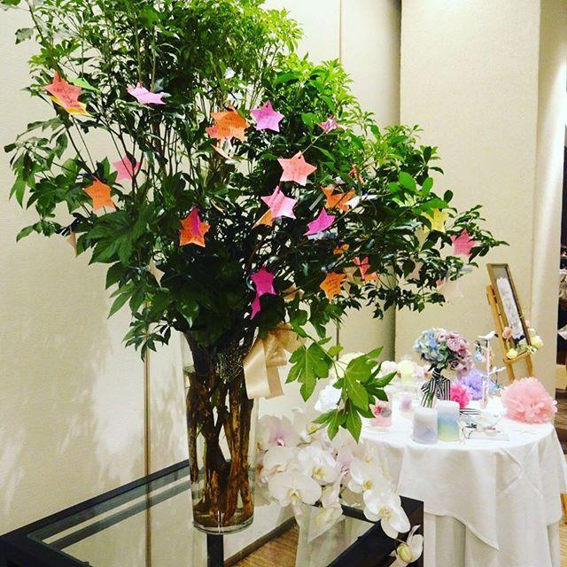 ウェルカムスペースに置いたウェルカムツリーメッセージを書いてもらって枝に引っ掛けて...♡ ♡にしようと思ったけど、星で統一したら、より統一感がでました(*^^*) カラフルもかわいい♡  #ウェルカムツリー #ウェルカムスペース #披露宴 #結婚式 #wedding #welcome#tree#star#星#スター#カラフル#花樹海#奥には#candle#手作り