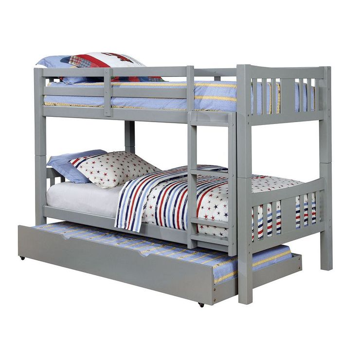 $260 gray Furniture Of America Cameron Transitional Twin/twin Bunk Bed, Gray CM-BK929GY-BED