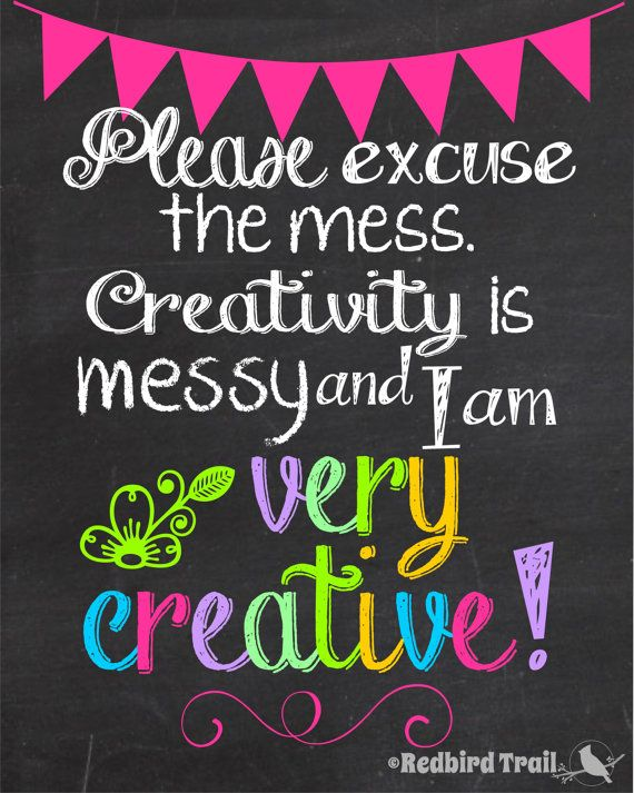 maybe for the art wall? Creativity is Messy Chalkboard Wall Art Craft Room by RedbirdTrail