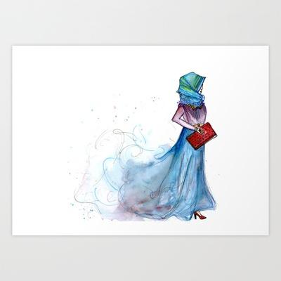 Hijabi Art Print by Yaz Raja // illustratedfashion - $25.00 #hijabi #hijabfashion #hijab