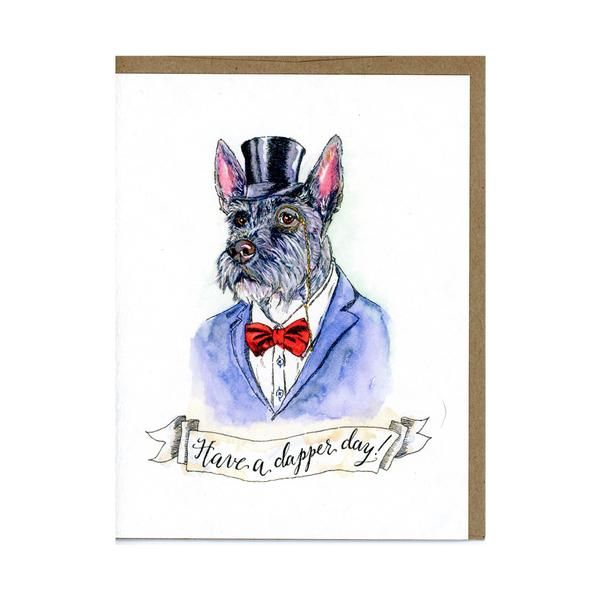 Dapper Dog Card Unique dog greeting card, perfect as a Father's Day Card.