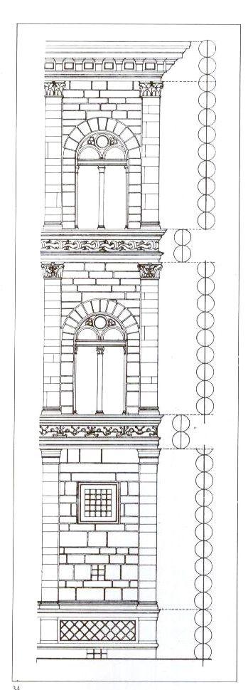 LEON BATTISTA ALBERTI Proportion of the order of the Palazzo Rucellai, Florence, 1446-51, Albert