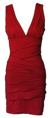 Burgundy Red Sleeveless Bandage Cocktail Dress