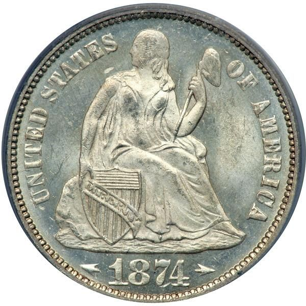"1874 Liberty Seated Dime. Arrows. PCGS MS66 A frosty white example with semi reflective surfaces on the obverse. Both sides display the typical ""look"" for this With Arrows P-mint delivery: thickly frosted surfaces, though slightly reflective, rolling cartwheel effects, and boldly struck frostier devices. A modestly ineffectual imprint was left by the rebound of the dies that struck this Dime as seen in the lack of definition on Liberty's face and the Liberty cap. Most other areas are…"