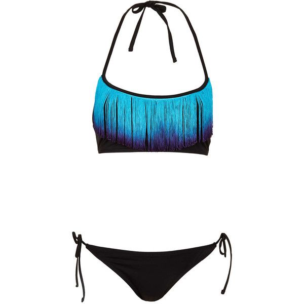 TOPSHOP Black Dip Dye Fringe Bikini ($64) ❤ liked on Polyvore featuring swimwear, bikinis, bathing suits, swim, swimsuits, black, swim wear, fringe bandeau bikini top, bikini bathing suits and swim suits