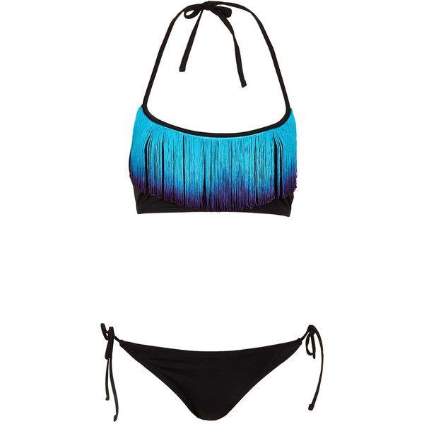 TOPSHOP Black Dip Dye Fringe Bikini ($64) ❤ liked on Polyvore featuring swimwear, bikinis, bathing suits, swim, swimsuits, black, swim wear, fringe bandeau bikini top, bikini bathing suits and swim suits