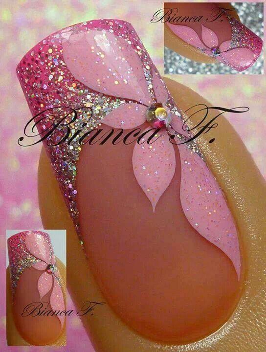 Pink flower nail art wow