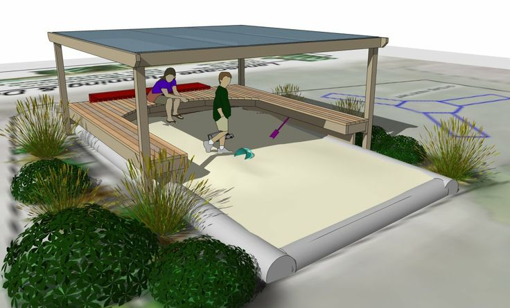 Blueskin Playcentre sandpit design. Deck seating and shade canopy.