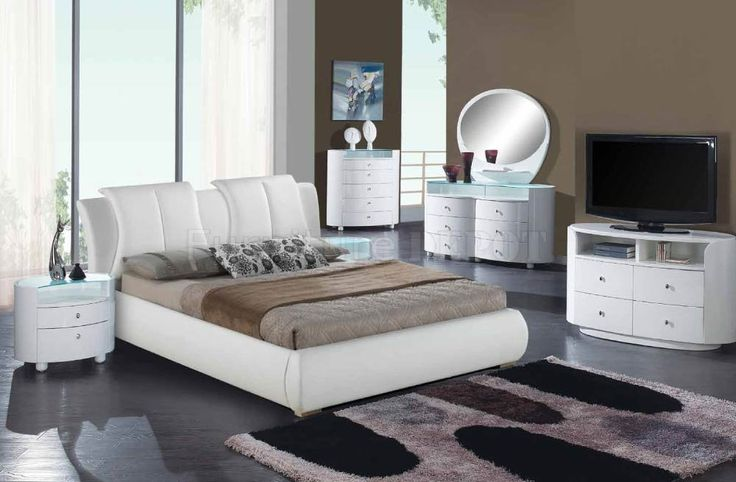 8269-Emily White Bedroom by Global w/Upholstered Bed & Options