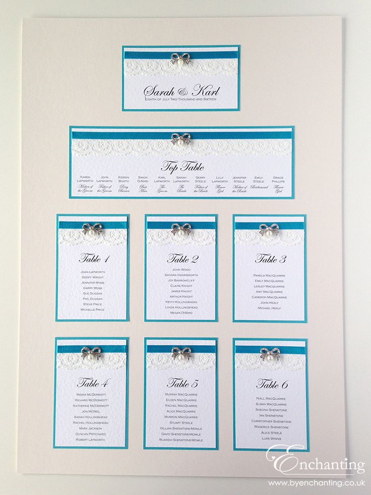 Teal Wedding Stationery | The Snow White Collection - Mounted Table Plan / Seating Chart | Featuring ivory lace, teal aqua turquoise ribbon and diamanté and pearl bow embellishment | Luxury handmade wedding invitations and stationery #byenchanting