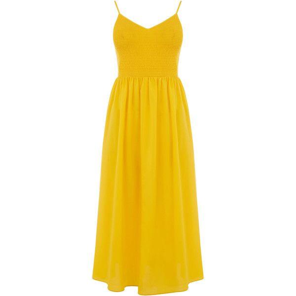 SMOCK BODICE CAMI DRESS ($84) ❤ liked on Polyvore featuring dresses, ruching dress, cami dresses, going out dresses, yellow camisole and smocked dresses