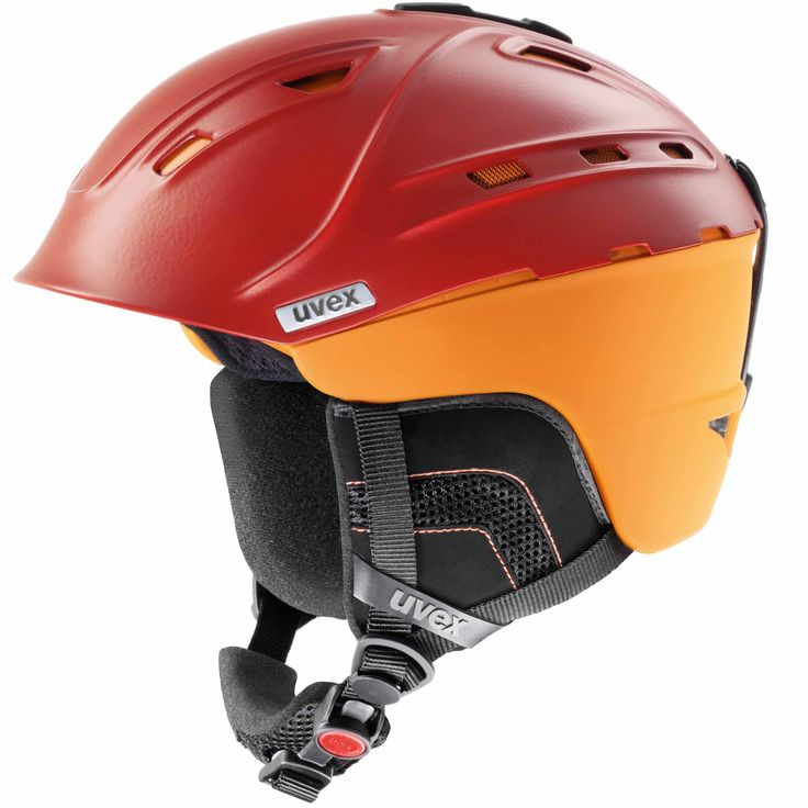 Uvex, p2us skihelmet, red-orange Cool ski helmet, with German security! The combination of two worlds: inmold and hard shell of a helmet. The advantage of this helmet is the room for ventilation, your head stays cool. The bold color combination makes it an eye-catching and distinctive helmet. The helmet has all the features that a helmet needs, such as natural sound system ear padding. You will have little trouble with the rush of wind.   The helmet exceeds all safety requirements for alpine…