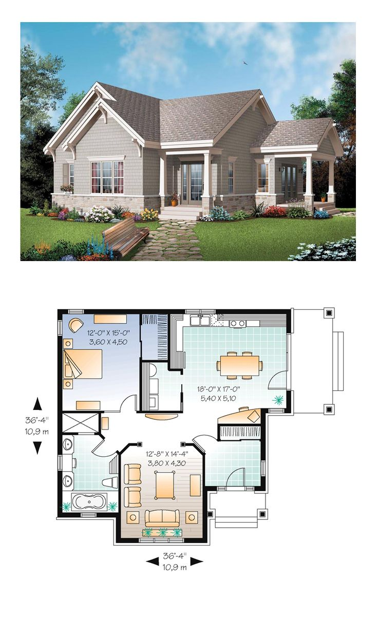 Bungalow house plan 65524 total living area 1134 sq ft for Plan bungalow 1 chambre