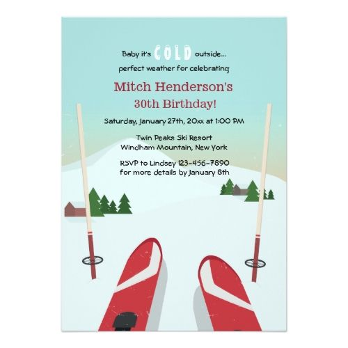 123 best sports birthday invitations images on pinterest birthday red skis invitation stopboris Image collections