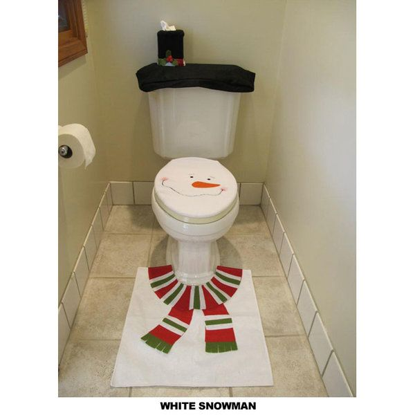 piece santa or snowman bathroom toilet seat cover rug set