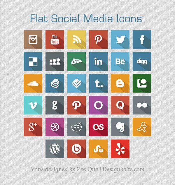 New Flat Free Social Media Icons 2013