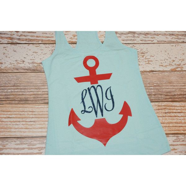 Anchor Monogram Tank Top Shirt Owl the Shirts You Need ($22) ❤ liked on Polyvore featuring tops, tanks, white, women's clothing, white tank, anchor tank, neon shirts, glitter shirts and glitter tank top
