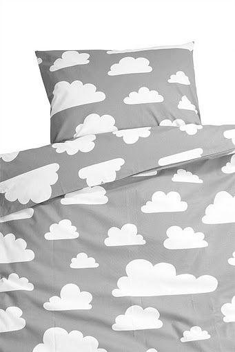 Eenpersoons dekbedovertrek Wolken - Grijs