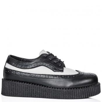 OUTRAGE Brogue Lace Up Chunky Creeper Platform Oxford Shoes - Black Leather Style
