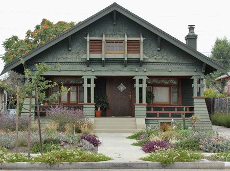 A lovingly restored Craftsman home in the West Adams neighborhood of Los Angeles. From an article indicating that the low-water garden--indeed, very pretty--won a prize.