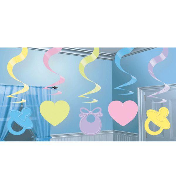Baby versiering rotorspiralen - Feestartikelen shop. Rotorspiralen babyshower. De babyshower versiering is afgestemd op zowel een jongen als een meisje! De